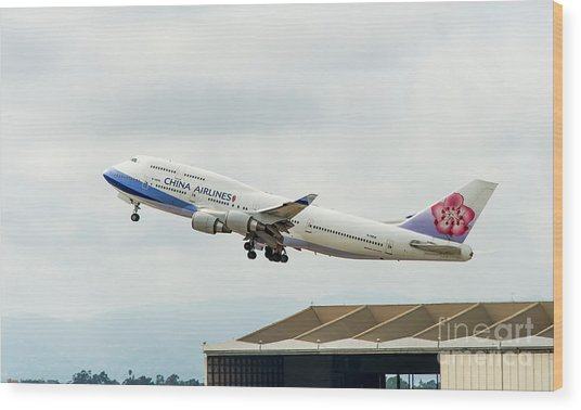 China Arlines 747 Lifts Off From Lax Wood Print