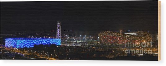 China Beijing Panorama Water Cube And Birds Nest Stadiums Wood Print