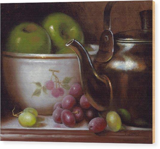 China Bowl And Teapot Wood Print by Timothy Jones