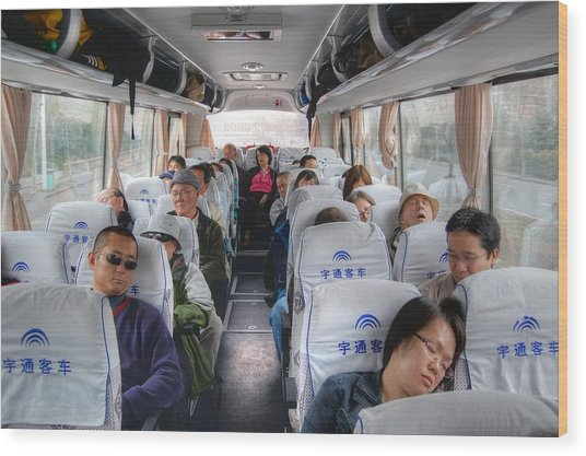 China Bus Ride  Wood Print