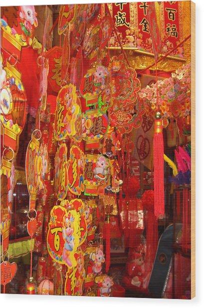 China Town Lanterns Wood Print by Jack Edson Adams