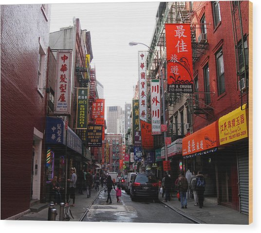 Chinatown Ny Wood Print