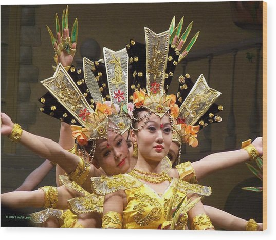 Chinese Dancers Perform Thousand Hands Guan Yin Wood Print