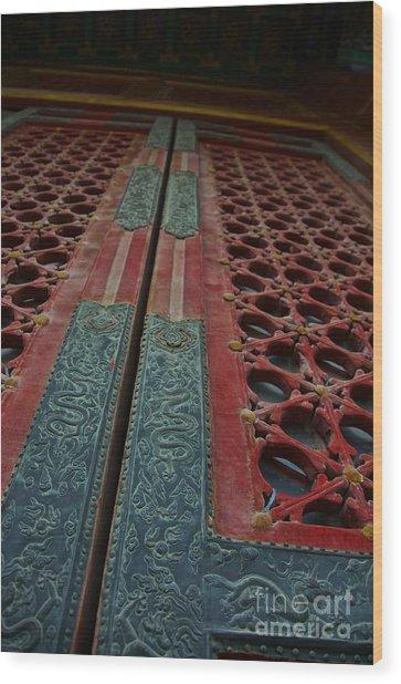 Chinese Door  Wood Print