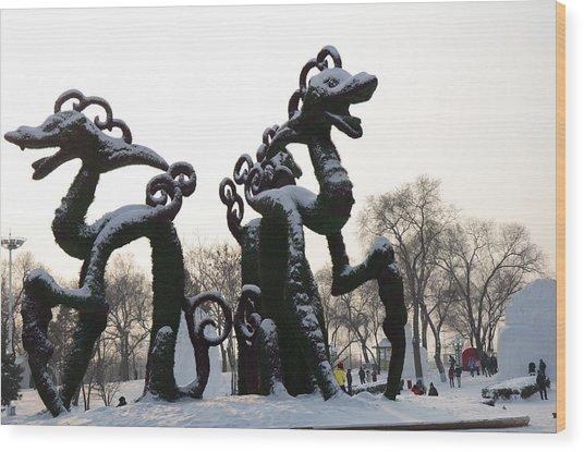 Chinese Dragons Wood Print by Brett Geyer