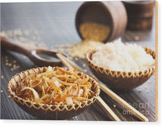 Chinese Food Wood Print by Mythja  Photography