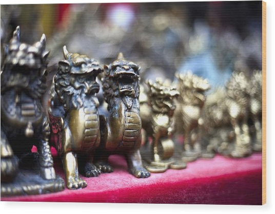 Chinese Guardian Lions Wood Print by SFPhotoStore