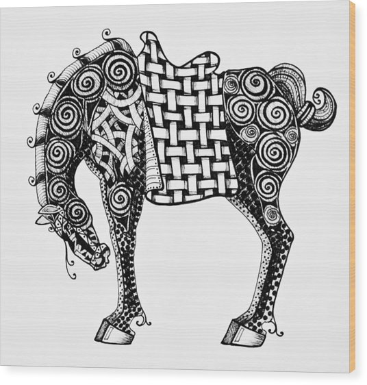 Chinese Horse - Zentangle Wood Print