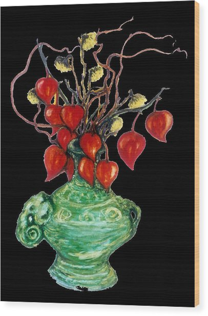 Chinese Lanterns On Black Wood Print by Rae Chichilnitsky