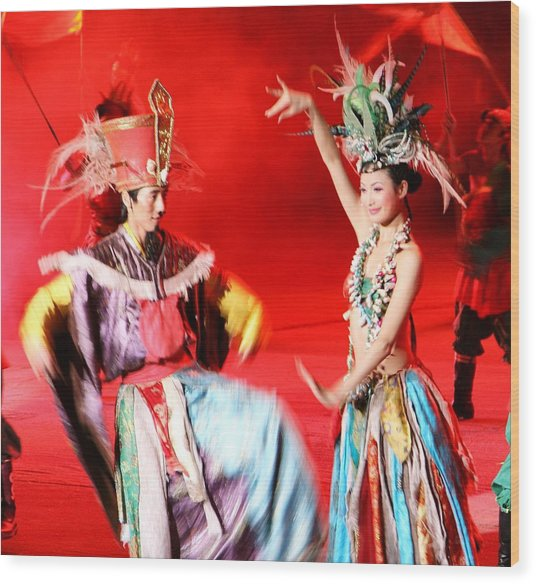 Chinese Opera Wood Print by  Jose Carlos Fernandes De Andrade