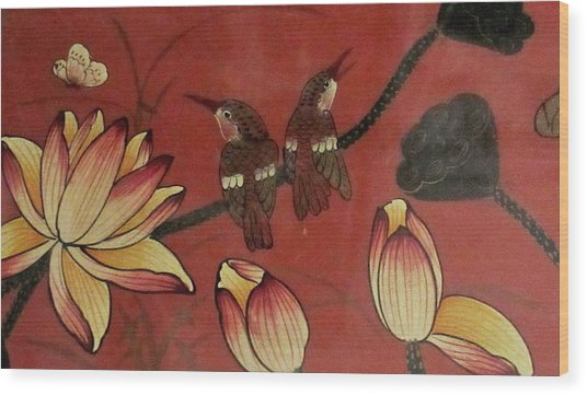 Chinese Red Lacquer Chest Detail Wood Print