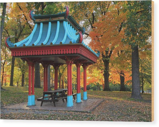 Chinese Shelter In Autumn Wood Print