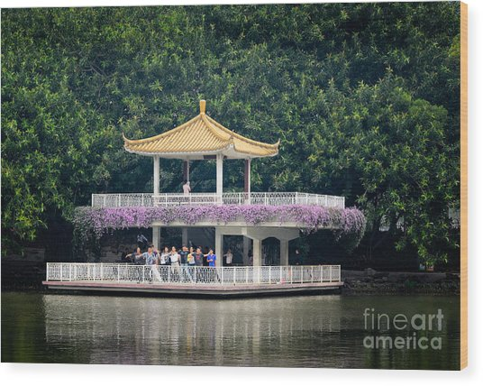 Chinese Style Pavillion In A Peaceful Park.  Wood Print