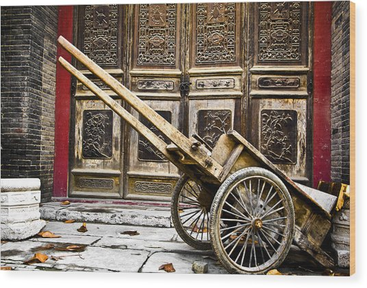 Chinese Wagon In Color Xi'an China Wood Print
