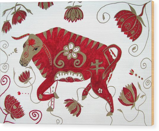 Chinese Year Of The Ox Wood Print