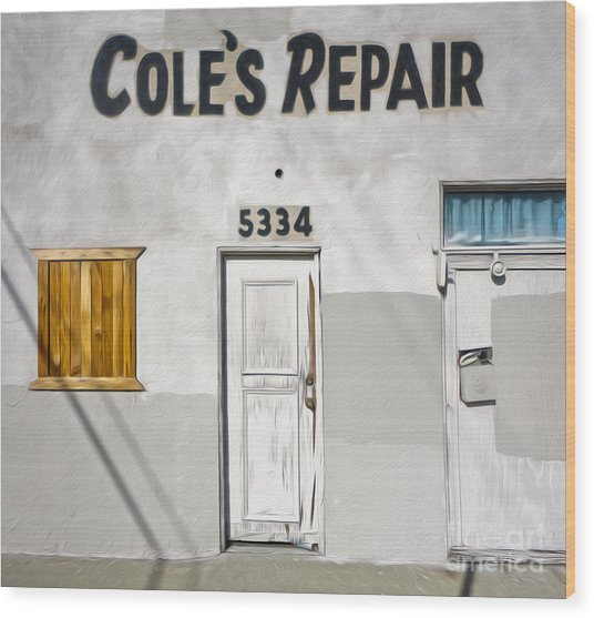 Chino - Coles Repair Wood Print by Gregory Dyer