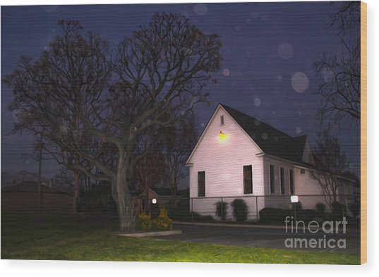Chino Old School House At Night- 01 Wood Print by Gregory Dyer