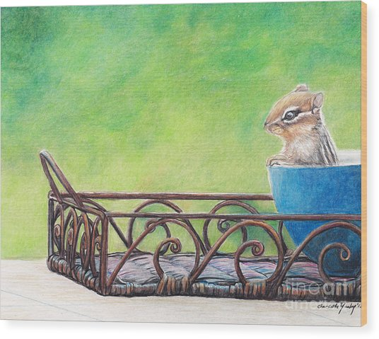 Chipmunk In Blue Bowl Wood Print by Charlotte Yealey