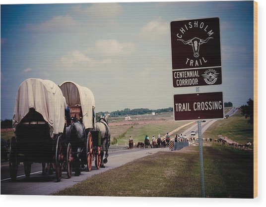 Chisholm Trail Centennial Cattle Drive Wood Print