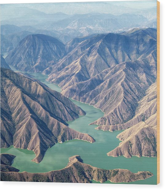 Chixoy Reservoir, Guatemala Wood Print by Opla