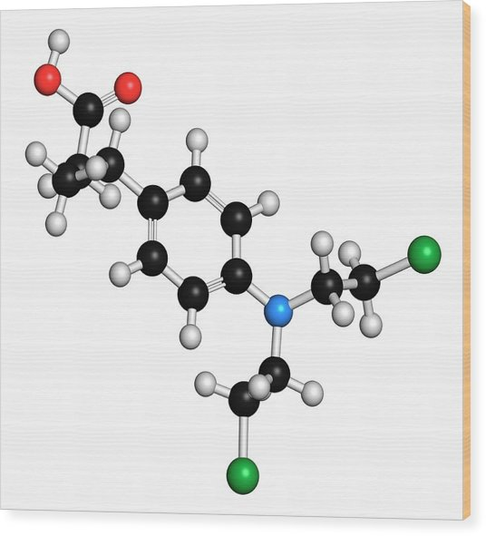 Chlorambucil Leukemia Drug Molecule Wood Print by Molekuul