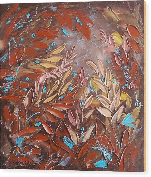 Chocolate And Turquoise Abstract Art Oil Painting By Ekaterina Chernova Wood Print