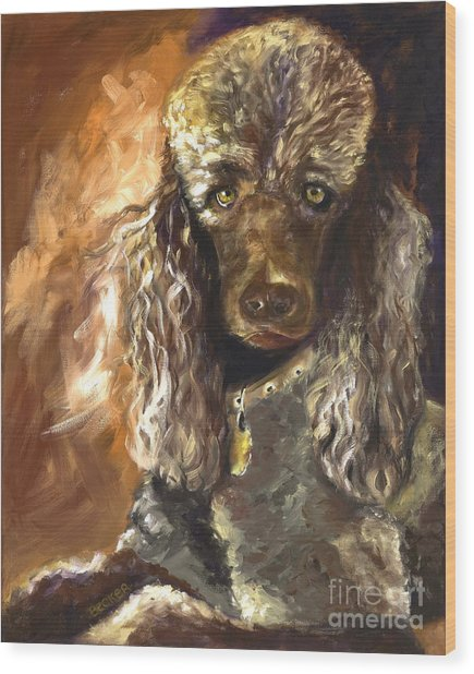 Chocolate Poodle Wood Print