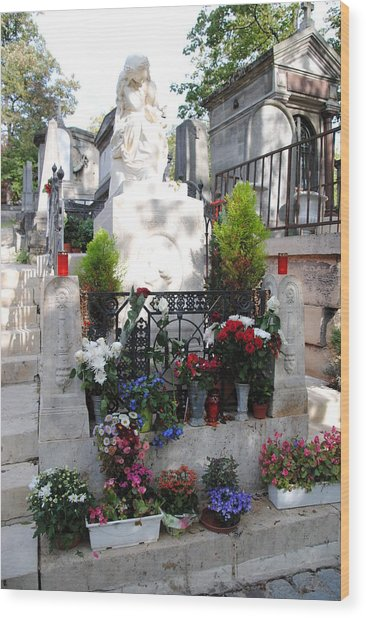 Chopin's Gravesite At Pere Lachaise Cemetery Wood Print by Jacqueline M Lewis
