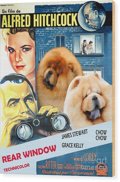 Chow Chow Art Canvas Print - Rear Window Movie Poster Wood Print
