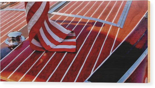 Chris Craft With American Flag Wood Print