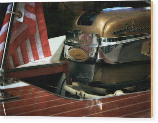 Chris Craft With Johnson Motor Wood Print