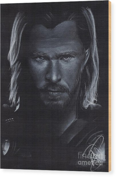 Chris Hemsworth Wood Print by Rosalinda Markle