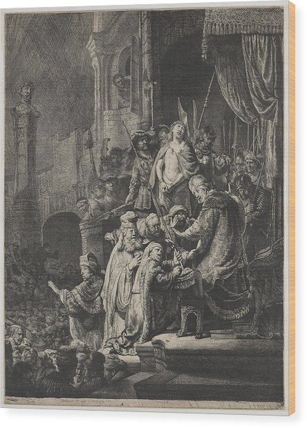 Christ Before Pilate Wood Print by Rembrandt