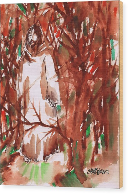 Christ In The Forest Wood Print