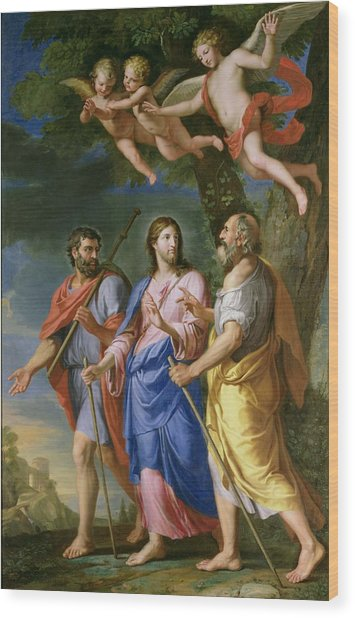 Christ On The Road To Emmaus Oil On Canvas Wood Print