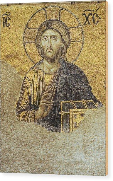 Christ Pantocrator-detail Of Deesis Mosaic Hagia Sophia-judgement Day Wood Print