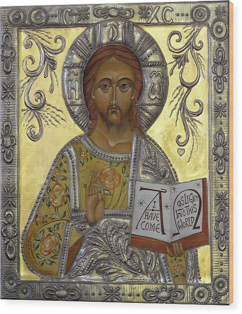 Christ Pantocrator Wood Print by Mary jane Miller