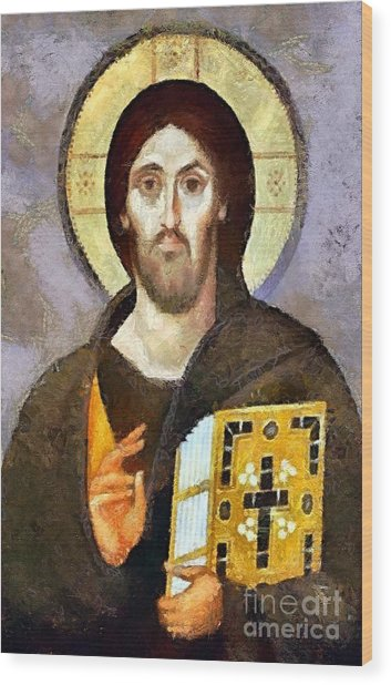 Christ Pantocrator Of Sinai Wood Print