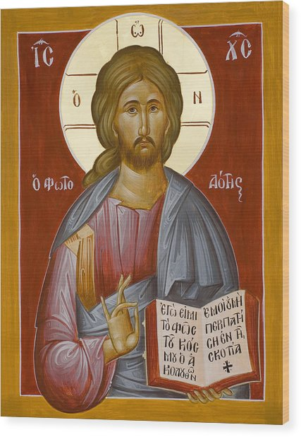 Christ The Light-giver Wood Print by Julia Bridget Hayes