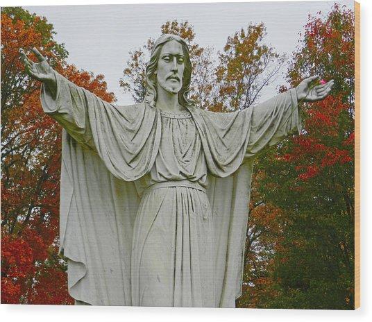 Christ Welcomes You Wood Print