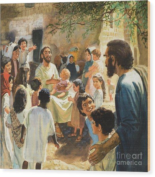 Christ With Children Wood Print