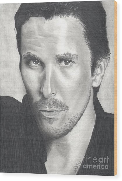 Christian Bale Wood Print by Christian Conner
