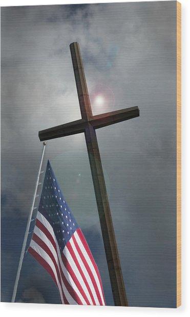 Christian Cross And Us Flag Wood Print