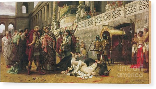 Christian Dirce In The Circus Of Nero Wood Print by Pg Reproductions