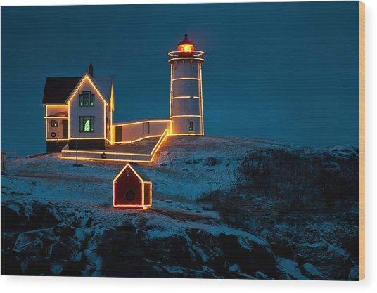 Christmas At Nubble Light Wood Print