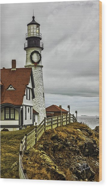 Christmas At Portland Head Light Wood Print