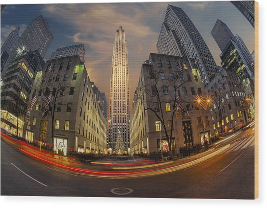 Christmas At Rockefeller Center Wood Print