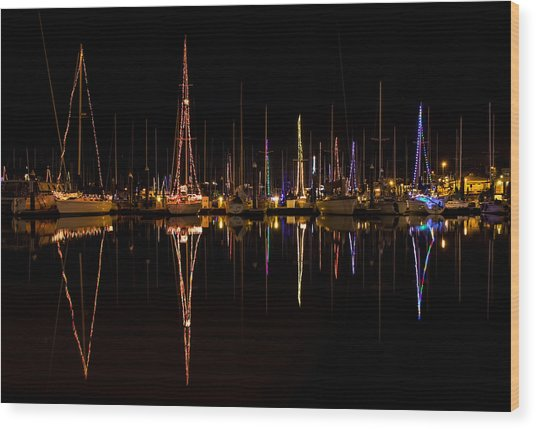 Christmas At Santa Cruz Harbor Wood Print