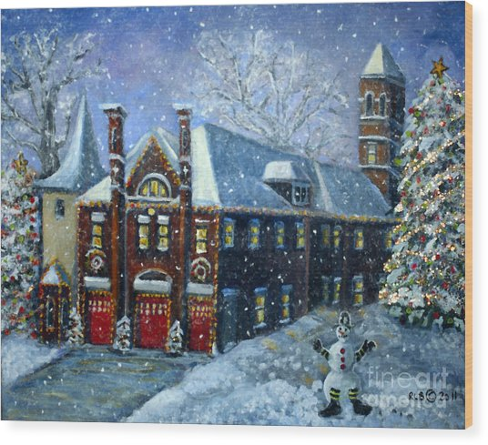 Christmas At The Fire House Wood Print
