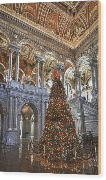 Christmas At The Library Of Congress Wood Print